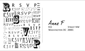RSVP card for a wedding suite