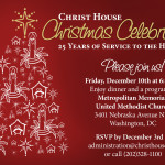 A holiday event invitation for a non-profit
