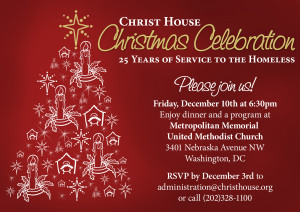 A holiday event invitation for a non-profit