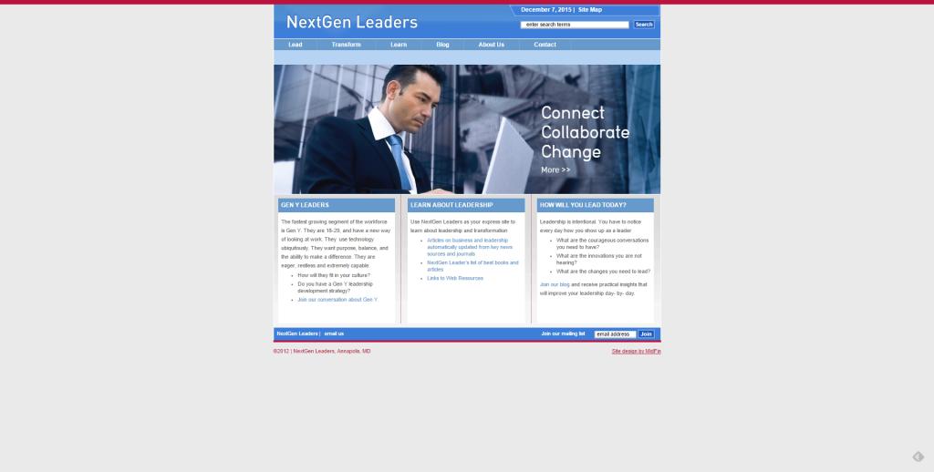 Screen Capture of the Previous NextGen Leaders Homepage 2012-2015
