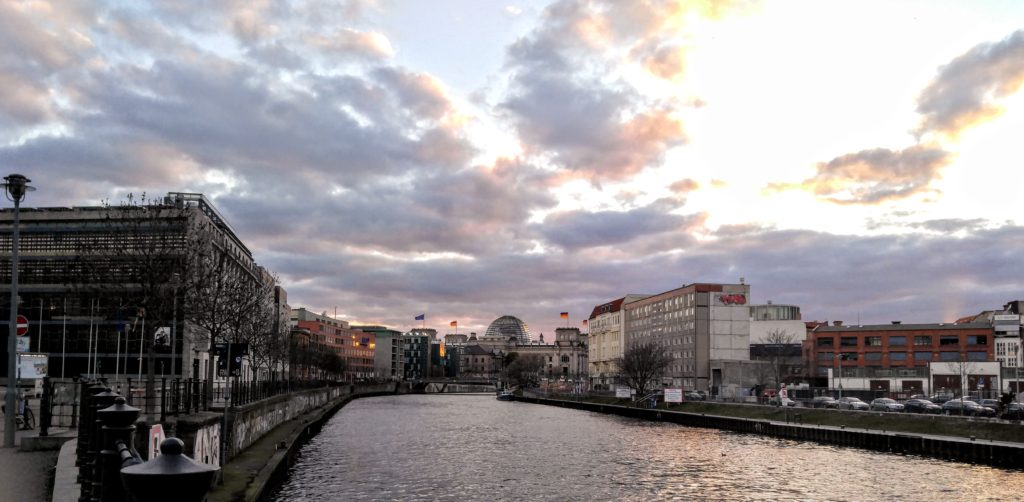 A view to the Reichstag from the banks of the Spree River
