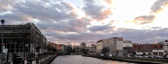 View to the Reichstag from the banks of the Spree River