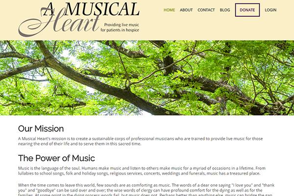 Website Design for A Musical Heart